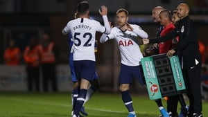 Troy Parrott was replaced in the second half by Christian Eriksen