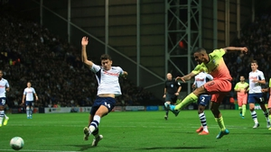 Gabriel Jesus scores Manchester City's second goal of the night at Deepdale