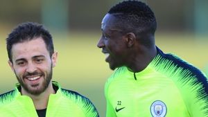 Silva and Mendy share a laugh at training