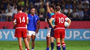Motu Matu'u is shown a yellow card against Russia