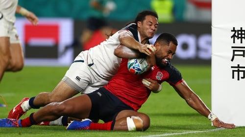 Joe Cokanasiga goes over for England's seventh try