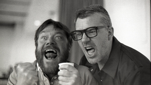 Actor Peter Gaynor and Dylan Tighe in rehearsals for Pasolini's Salò Redubbed