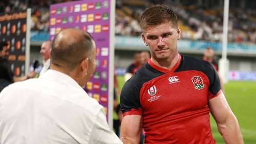 Owen Farrell was hit with a =n illegal challenge by US flanker John Quill