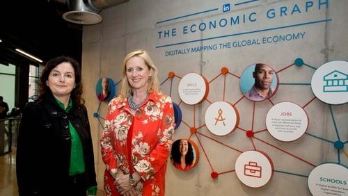 Sharon McCooey, Head of LinkedIn Ireland (left) and Aldagh McDonogh, Group CEO of Morgan McKinley