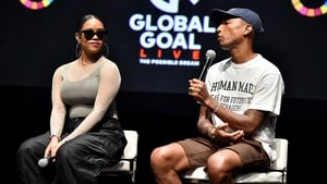 H.E.R. and Pharrell Williams at the launch
