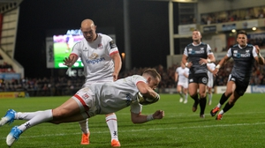 Craig Gilroy crosses the whitewash for Ulster's first try of the night