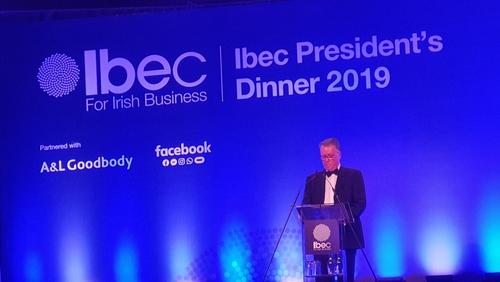 The incoming president of Ibec, Pat McCann spoke at the organisation's annual President's dinner in Dublin