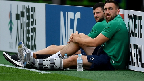 Jack Conan wearing a protective boot before Ireland's defeat to Japan