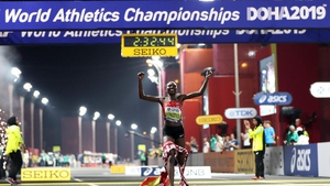 Ruth Chepngetich of Kenya celebrates after crossing the finish line
