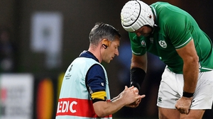Rory Best receives medical treatment