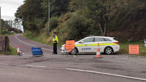 Gardaí at the scene of the crash in Ballinhassig, Co Cork