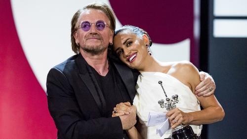 Bono and Penelope Cruz at the San Sebastian International Film Festival on September 27