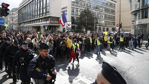"""Anti riot police face protesters during an anti-government """"yellow vests"""" demonstration in Paris"""