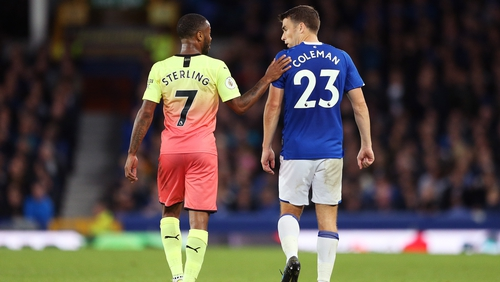 Raheem Sterling and Seamus Coleman chat after the final whistle