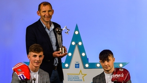 Corbett and McDonagh at the minor star awards along with Fergal O'Donnell who picked up the special merit award