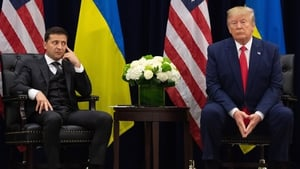 In his controversial phone call with the President of Ukraine, Volodymyr Zelensky (L),  Donald Trump described Marie Yovanovitch as bad news
