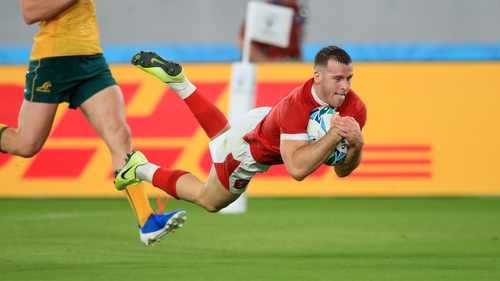 Gareth Davies improved his already outstanding World Cup record by claiming a sixth try in seven appearances on the world stage
