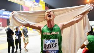 Brendan Boyce celebrates after completing the 50k walk