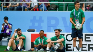 (From L): Robbie Henshaw, Bundee Aki, Jack Conan and Jonathan Sexton look on prior to Ireland's defeat to Japan