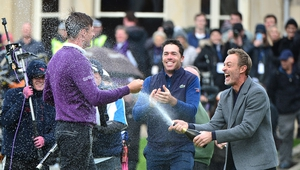 Perez celebrates with Raphael Jacquelin on the 18th