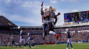 New England Patriots' Brandon Bolden (No 38) celebrates his touchdown