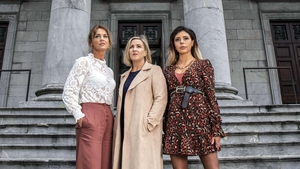 Programme subjects Sophia Murphy, left and Amy Dunne, on right, with interviewer Orla O'Donnell from the Finné series