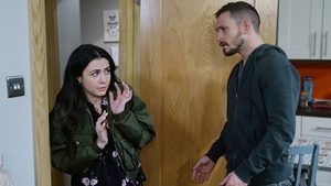 Ciaran is stunned to find Katy waiting at Tessa's apartment