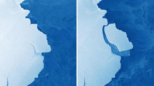 The iceberg pictured on 20 September (L) and 25 September (R)