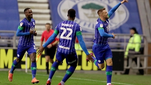 Wigan Athletic's Anthony Pilkington celebrates