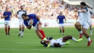 Yoann Huget goes over for the first try