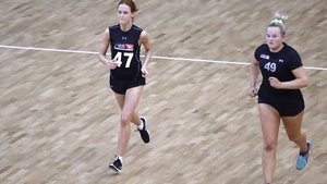 Olivia Divilly (47) and Vicki Wall (49) at the 2019 AFLW Draft Combine in Melbourne