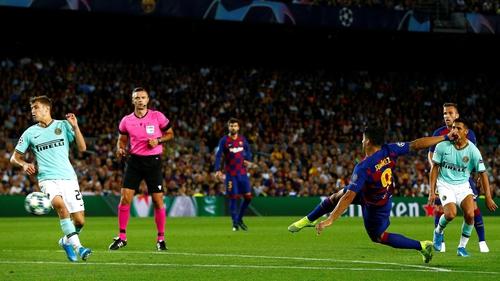 Luis Suarez's exquisite volley restored parity at the Camp Nou