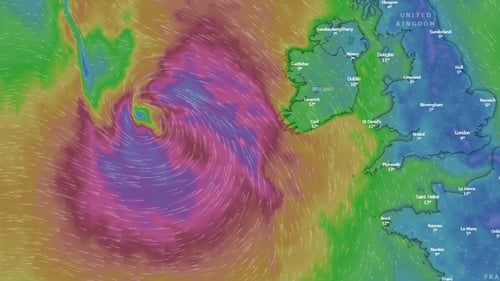 Storm Lorenzo will bring heavy rain and high winds from this afternoon (Image: Windy.com)
