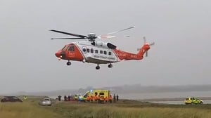 The man was airlifted from the scene by an Irish Coast Guard helicopter [Credit: Brendan Cooney]