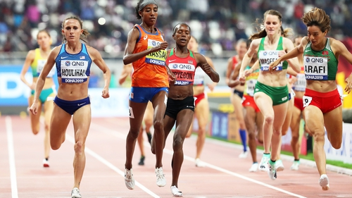 Ciara Mageean chases home the impressive Sifan Hassan in Doha