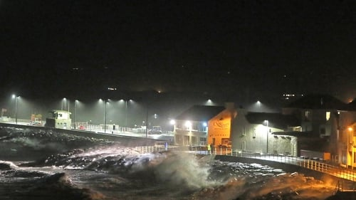 The swell from Storm Lorenzo washing over the wall in Lahinch