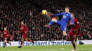 Jamie Vardy at Anfield last season in the 1-1 draw with Liverpool
