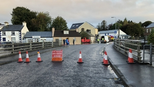 A road closed because of flooding in New Row, Donegal Town