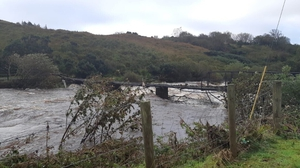 A footbridge destroyed by flooding on the Glen River located on Teelin Road, Carrick, southwest Donegal