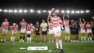 Michael Leitch and his team-mates celebrate the win over Ireland