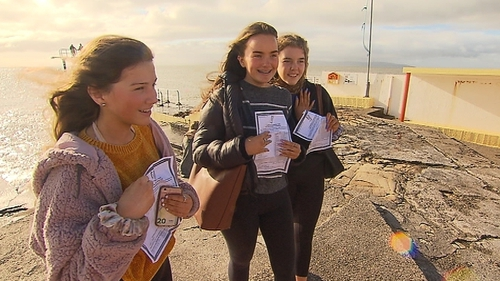 Students from Salerno Secondary School in Salthill, Galway with their Junior Cert results