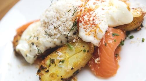 Heritage zesty potato salad, smoked salmon, fried eggs & sour cream.
