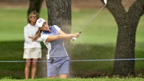 The Australian golfer in action