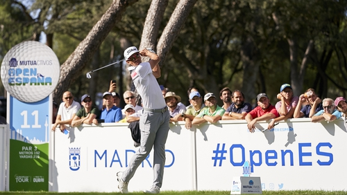 Cabrera Bello tees off from the eleventh