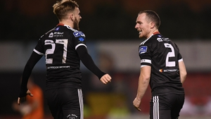 Bohemians' Derek Pender celebrates his goal with Luke Wade-Slater