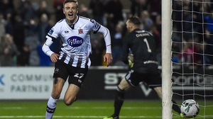 Daniel Kelly of Dundalk celebrates his goal against the Candystripes