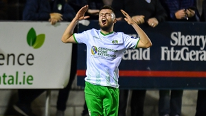 Paul Fox of Cabinteely reacts after going close
