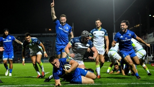 Rónan Kelleher dives over for his side's fourth try