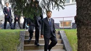 North Korean delegates at the talks in Sweden