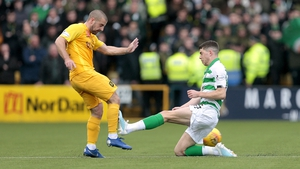 Ryan Christie was shown an early red card for Celtic